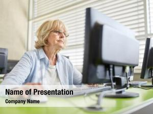 Learning senior woman training computer