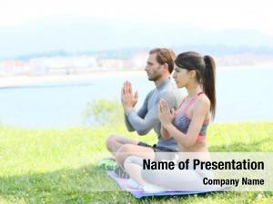 Meditation couple doing yoga exercises