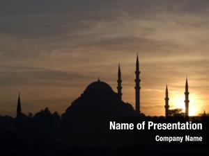 Suleymaniye sunset over mosque istanbul,