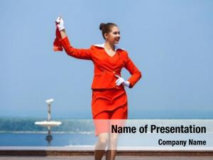 Dressed beautiful stewardess official red