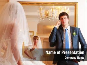 Against groom bride mirror