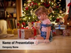 Open child girl presents room