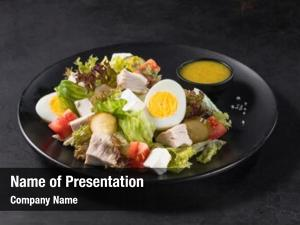 Slices appetizing salad chicken meat,