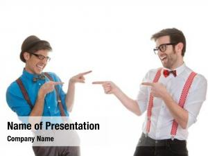 Men geek business pointing