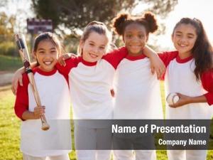 Team schoolgirl baseball holding baseball,