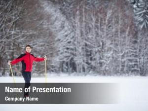 Young cross country skiing: man cross country