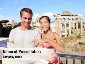 Map tourists holding roman forum