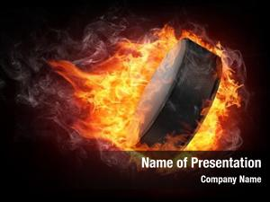 Puck burning hockey enveloped fire