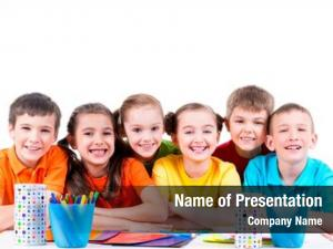 Sitting group children table markers,