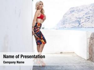 Luxury fashion portrait sexy blonde
