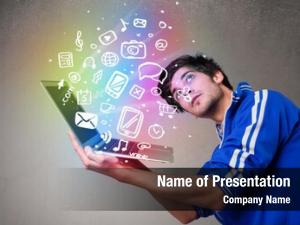 Man casual young holding laptop