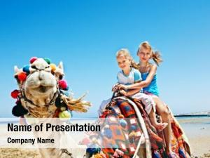 Riding tourists children camel beach
