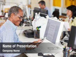 Digital man using tablet busy