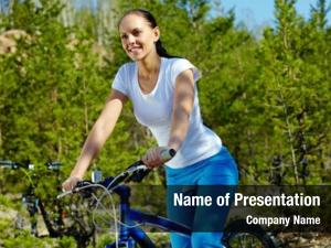 Woman pretty young riding bicycle