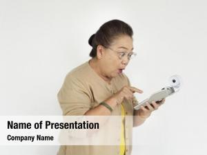 Accounting senior adult woman