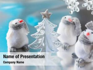 Funny christmas tree penguins
