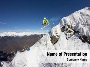 Jumping ski rider mountains