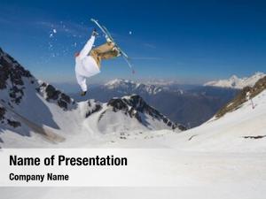 Cloudscape ski rider jumping