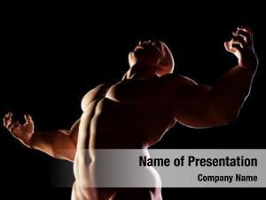 Showing strongman, hero his muscular