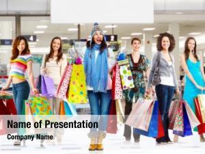 Group young women shopping bags