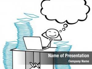 Businessman cartoon relaxed office computer
