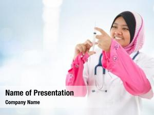 Medical muslim female doctor filling