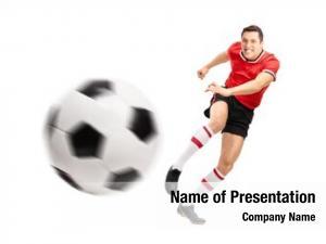 Player young football kicking ball