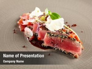 Delicious restaurant food fried tuna