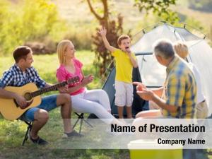 Family child singing camping