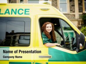 Inside woman driver ambulance