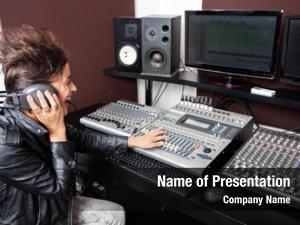 Audio woman mixing recording studio