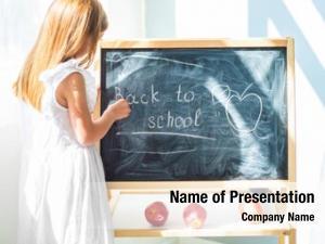 Girl little schoolage drawing blackboard