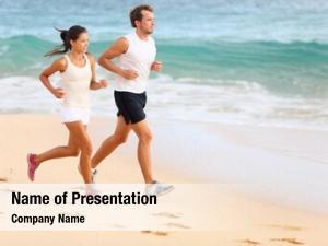 Jogging running couple beach exercising
