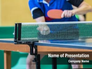 Player table tennis serving, focus