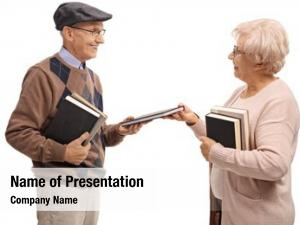 Elderly elderly man woman exchanging