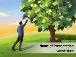 Dollar businessman grabbing bill tree