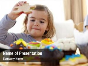 Girl happy little eating confectionery