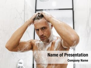 Man close handsome having shower