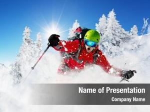 Mountain skier freeride skier with rucksack
