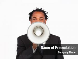Making afro american businessman announcement through