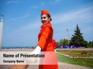 Beautiful follow me, stewardess dressed