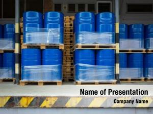 Stored toxic waste/chemicals barrels plant
