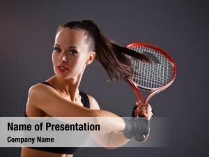 Player female tennis racket ready