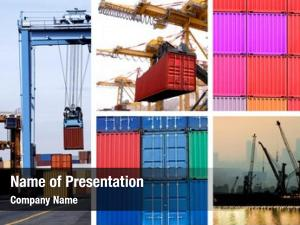 Cranes collage industrial cargo containers