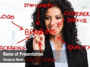 Branding businesswoman drawing flow chart