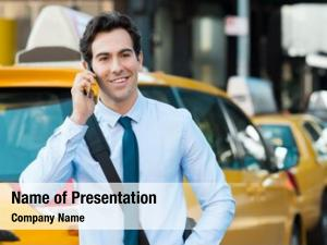 Talking young businessman smartphone