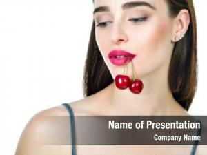 Woman young beautiful ripe cherry