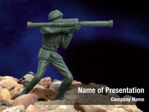 Man green army standing rocks