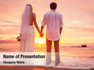 Enjoying bride groom, amazing sunset