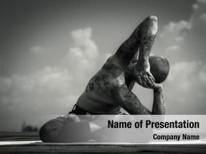 Experienced black and white photo yoga man